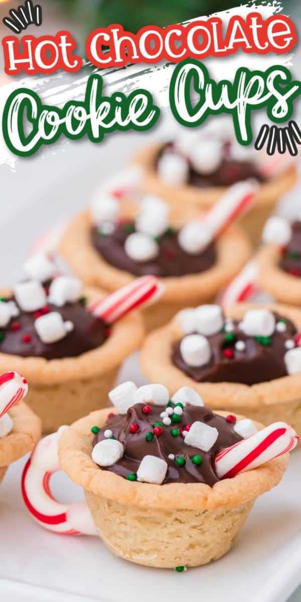 Hot Chocolate Cookie Cups Pinterest Image