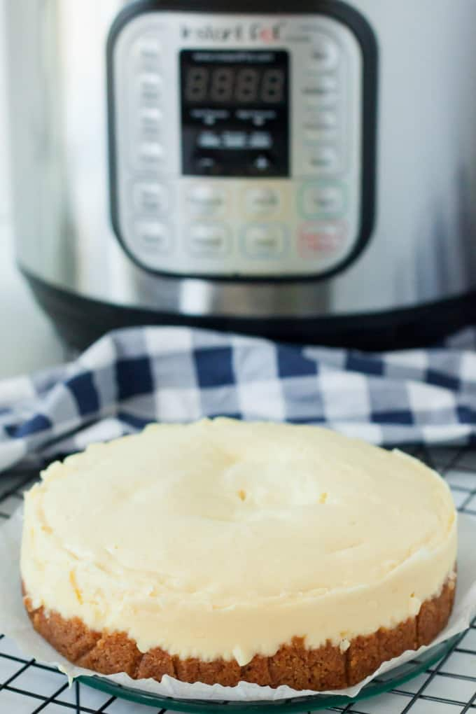 Cheesecake in front of instant pot