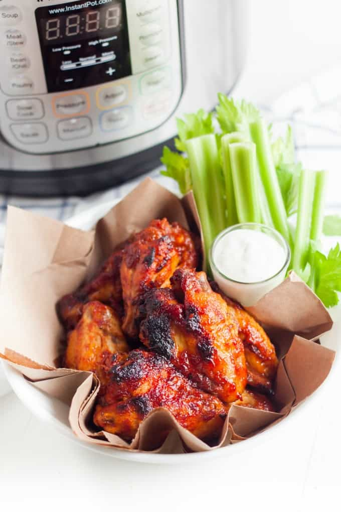 Instant Pot Chicken Wings with celery and blue cheese dressing