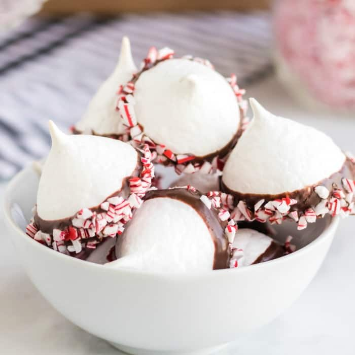 Chocolate Dipped Meringues in a white bowl