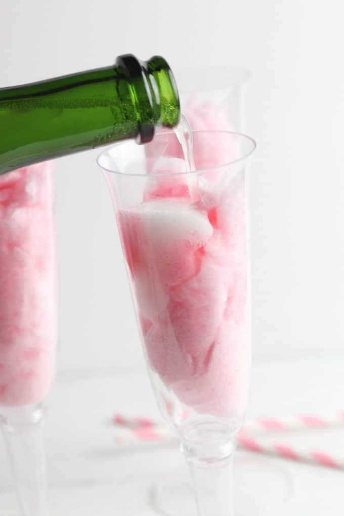 pour champagne over cotton candy
