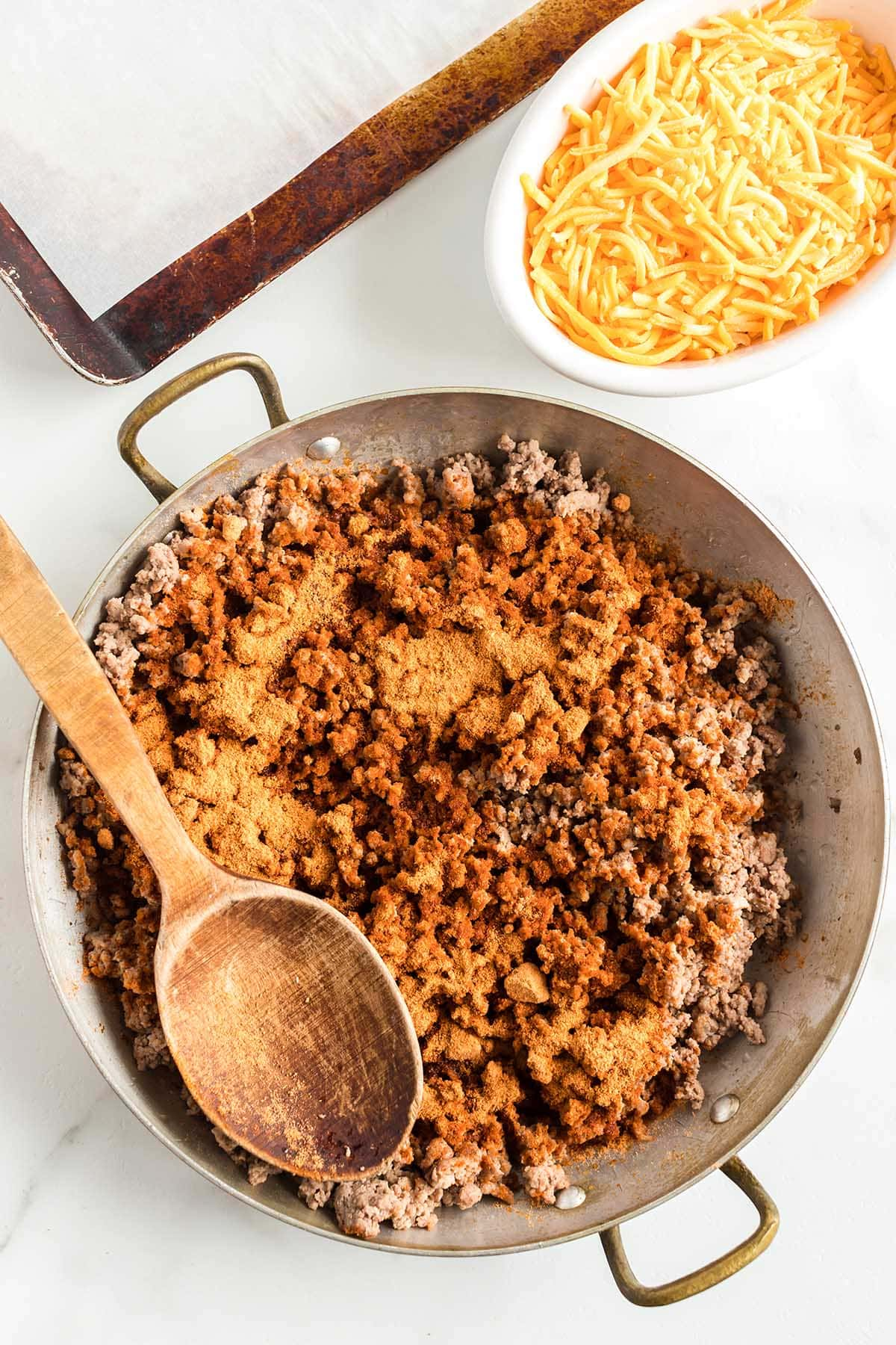 In a large skillet, cook the ground beef and taco seasoning