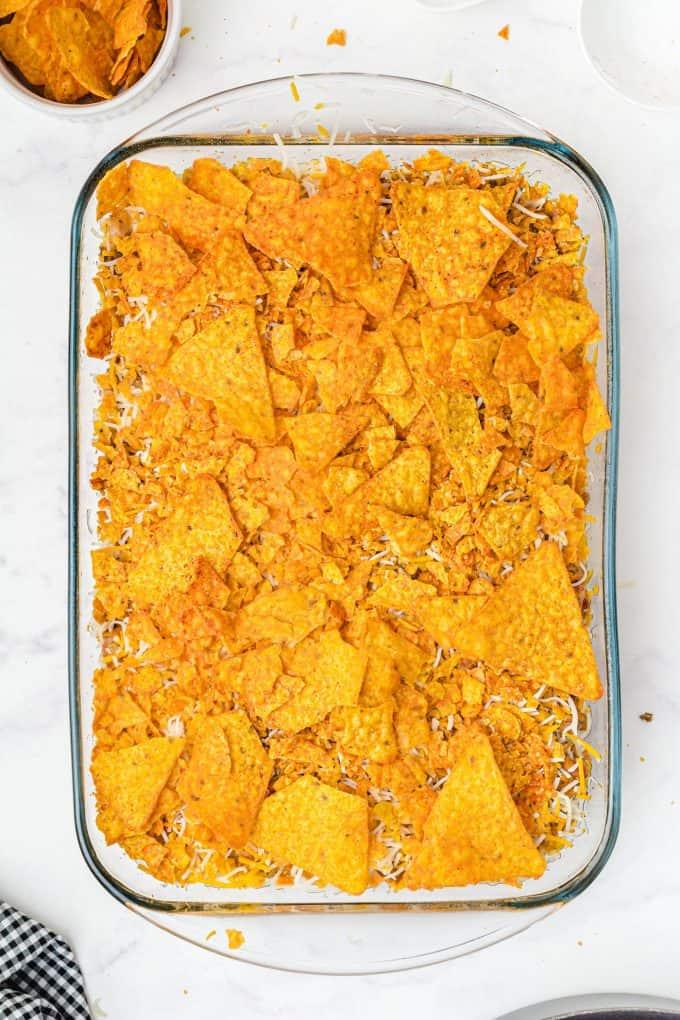 Dorito Casserole ready to bake