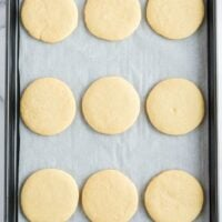 Featured sugar cookies on a pan