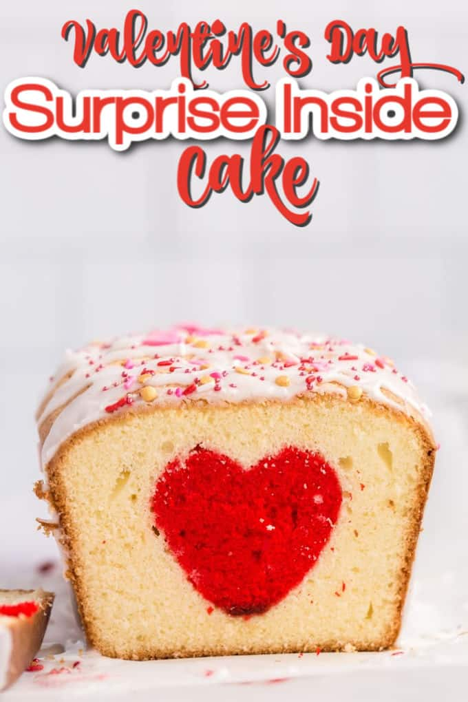 Pound cake with a red heart