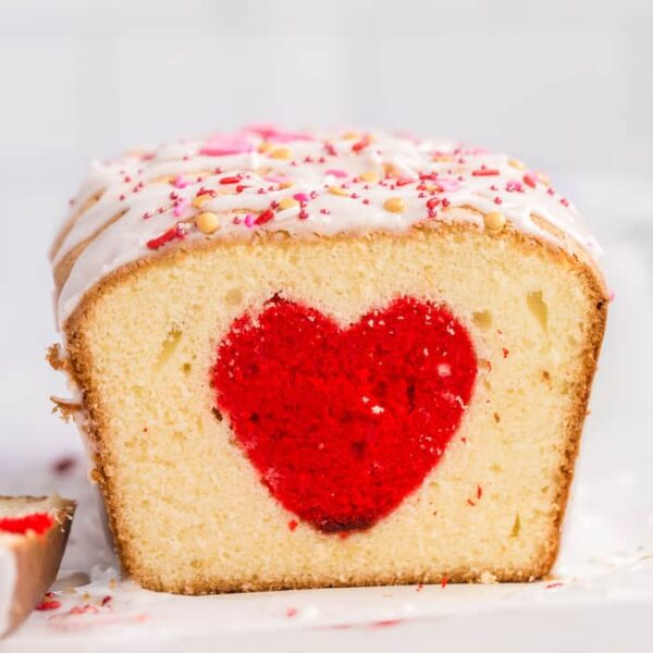 heart surprise inside cake for Valentine's Day