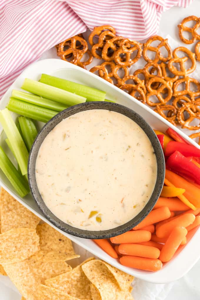 White Queso Dip with veggies