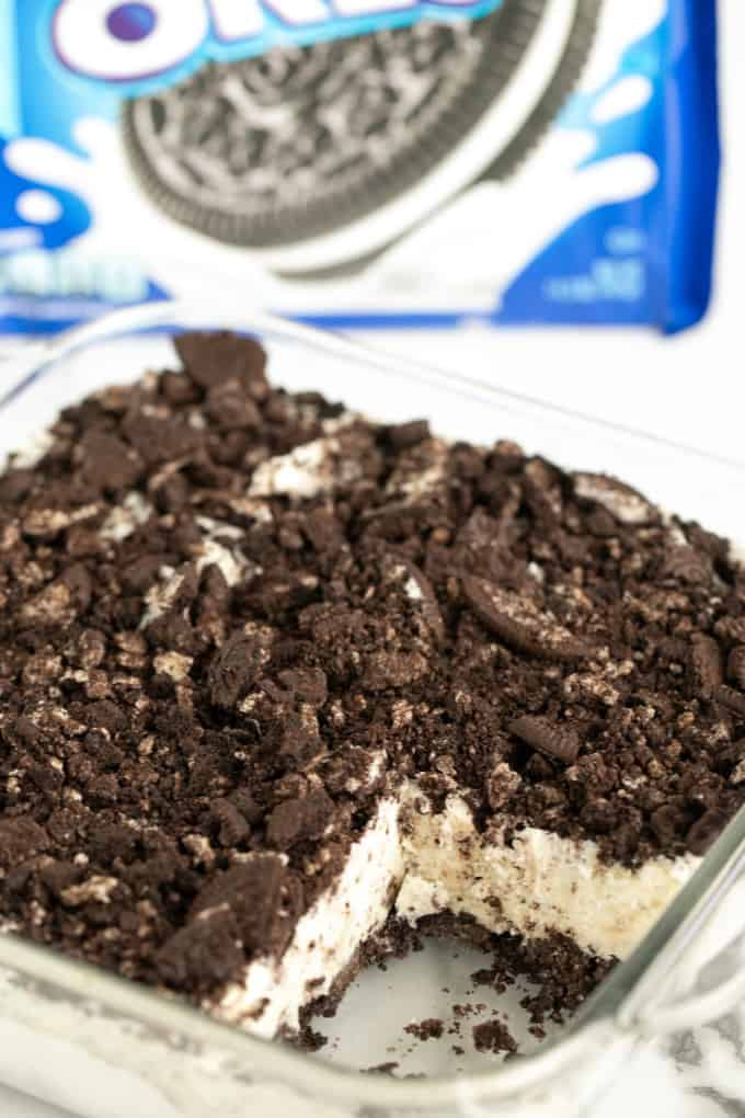 Frozen Oreo Dessert in a glass dish