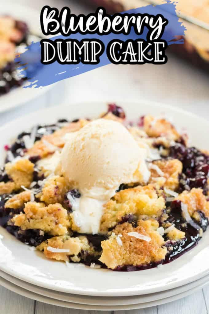 Blueberry Dump Cake with ice cream featured