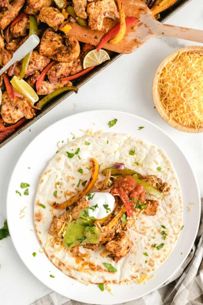 Chicken Fajitas on a tortilla
