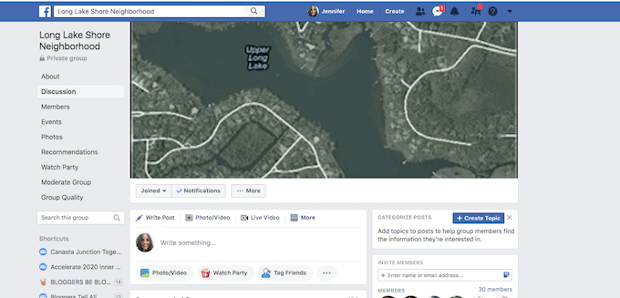 Facebook neighborhood page