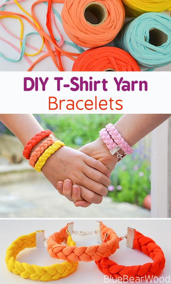 How to Make Tshirt Yarn Bracelets by Blue Bear Wood