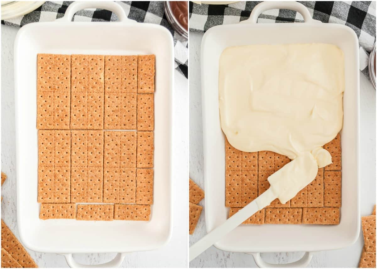 graham crackers in a white dish and then covered with pudding