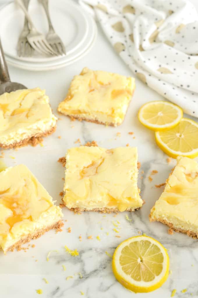 Lemon Cheesecake Bars sliced