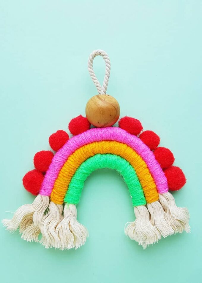 Macrame Rainbow Charm by Moms and Crafters