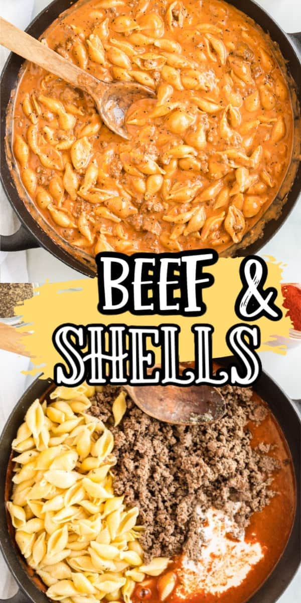 Creamy Beef and Shells in a pan pinterest
