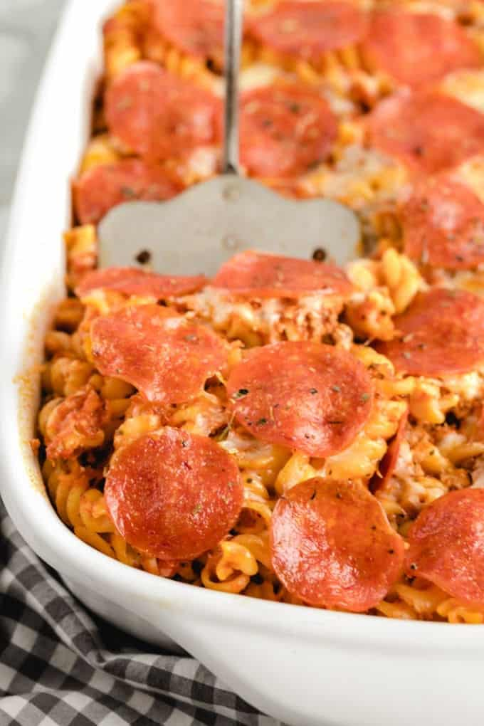 Pizza Casserole with a spatula
