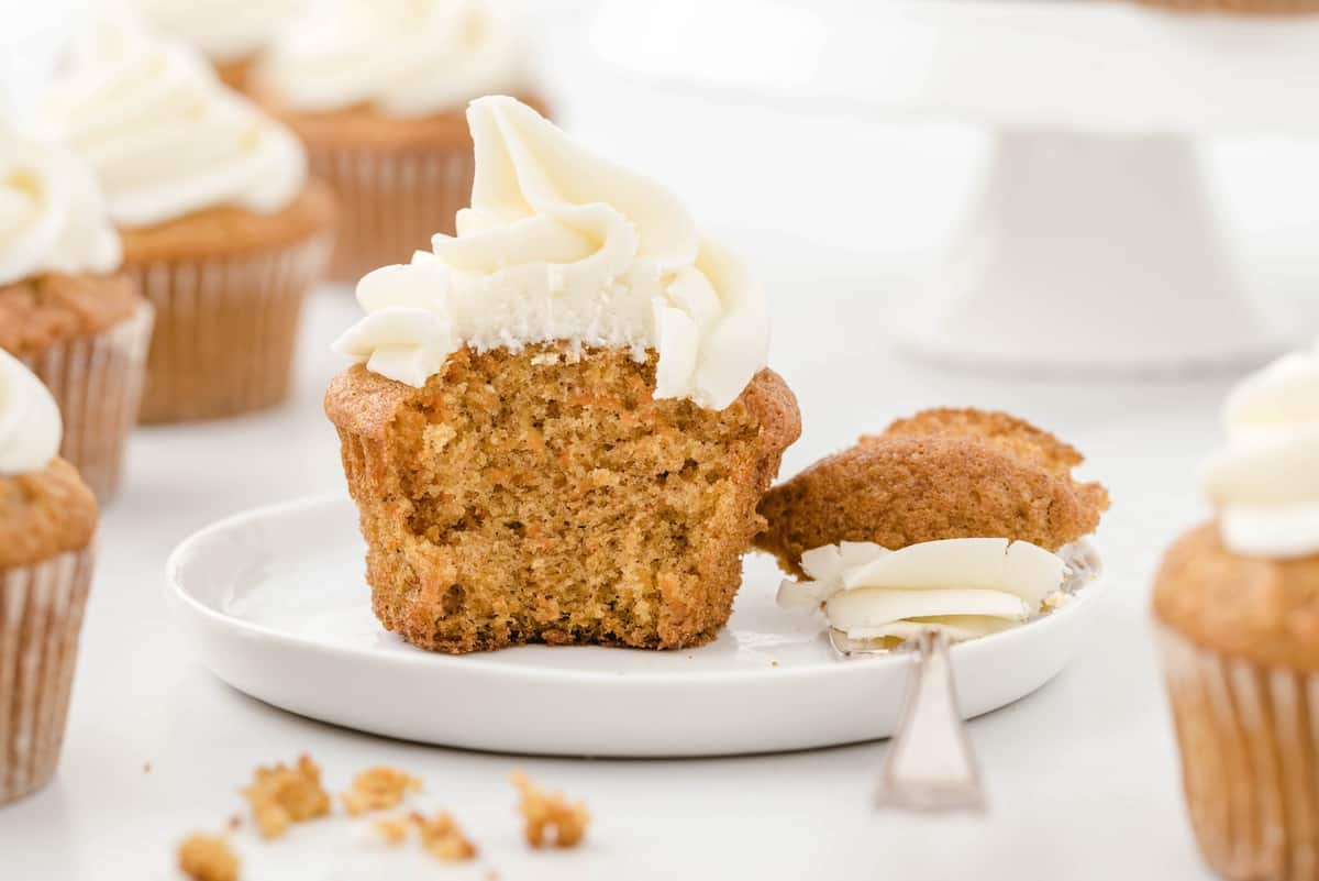 carrot cake cupcakes cut with a spoon