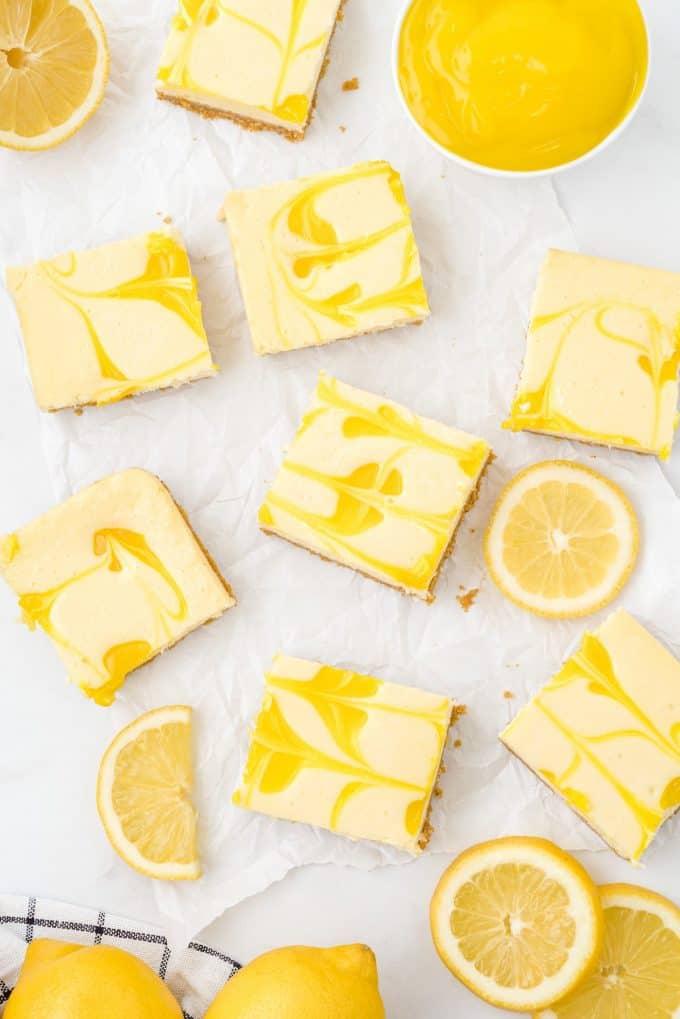 lemon cheesecake bars cut into squares