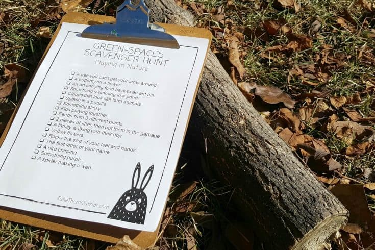 Play outside with nature scavenger hunt printables