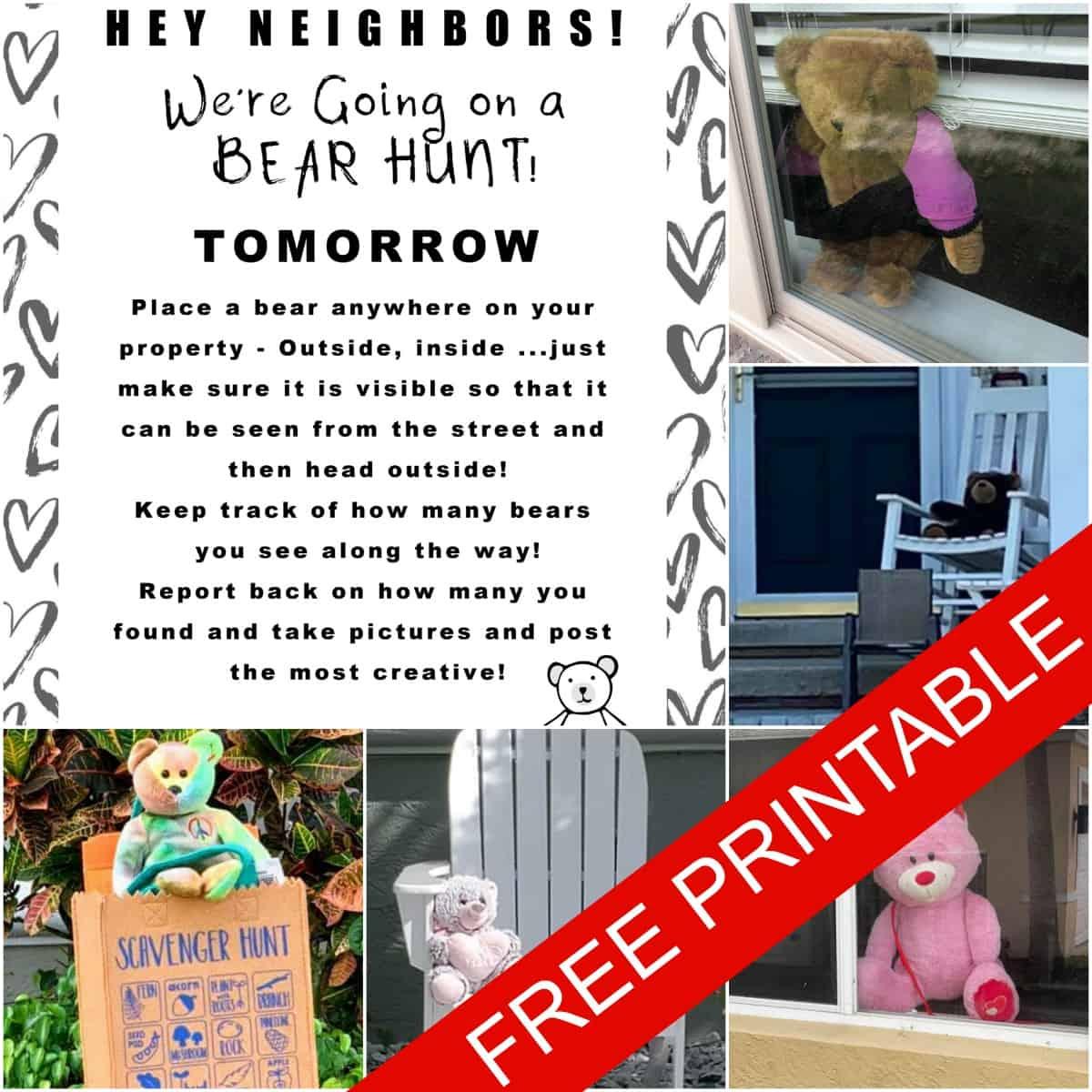Plan a Teddy Bear Scavenger Hunt With Your Neighborhood (FREE PRINTABLE INVITE!)