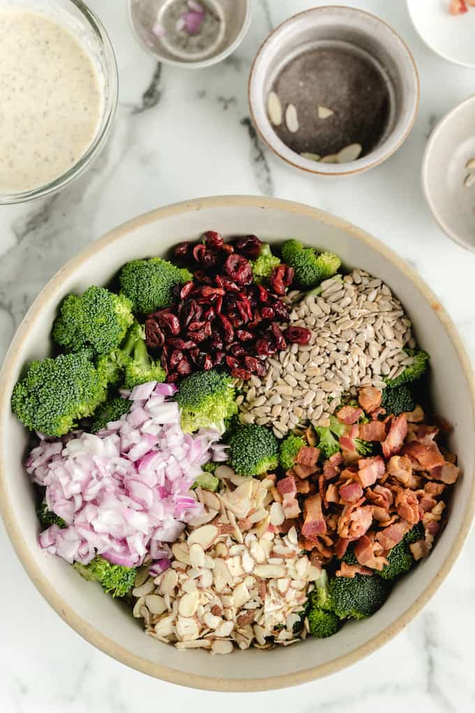 Broccoli Salad without the dressing in a bowl