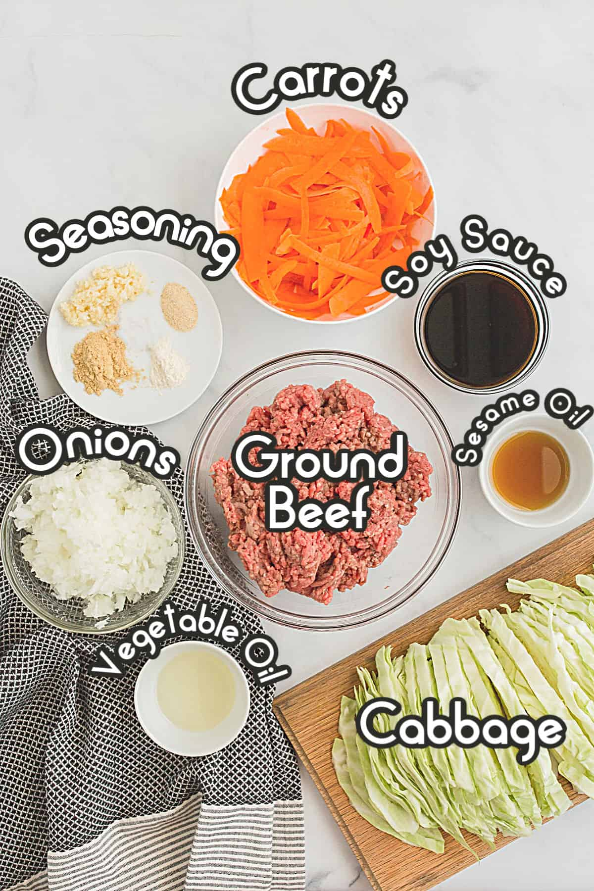 Ingredients to make an egg roll deconstructed in a bowl