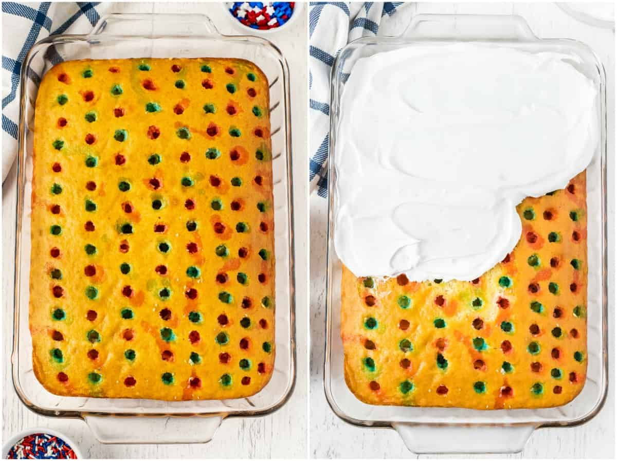 Poke Cake steps - cake with holes poked in it with red and blue food coloring