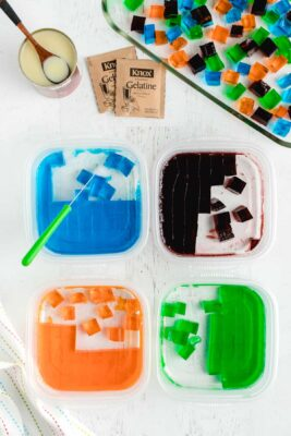 cut each color into small squares or cubes