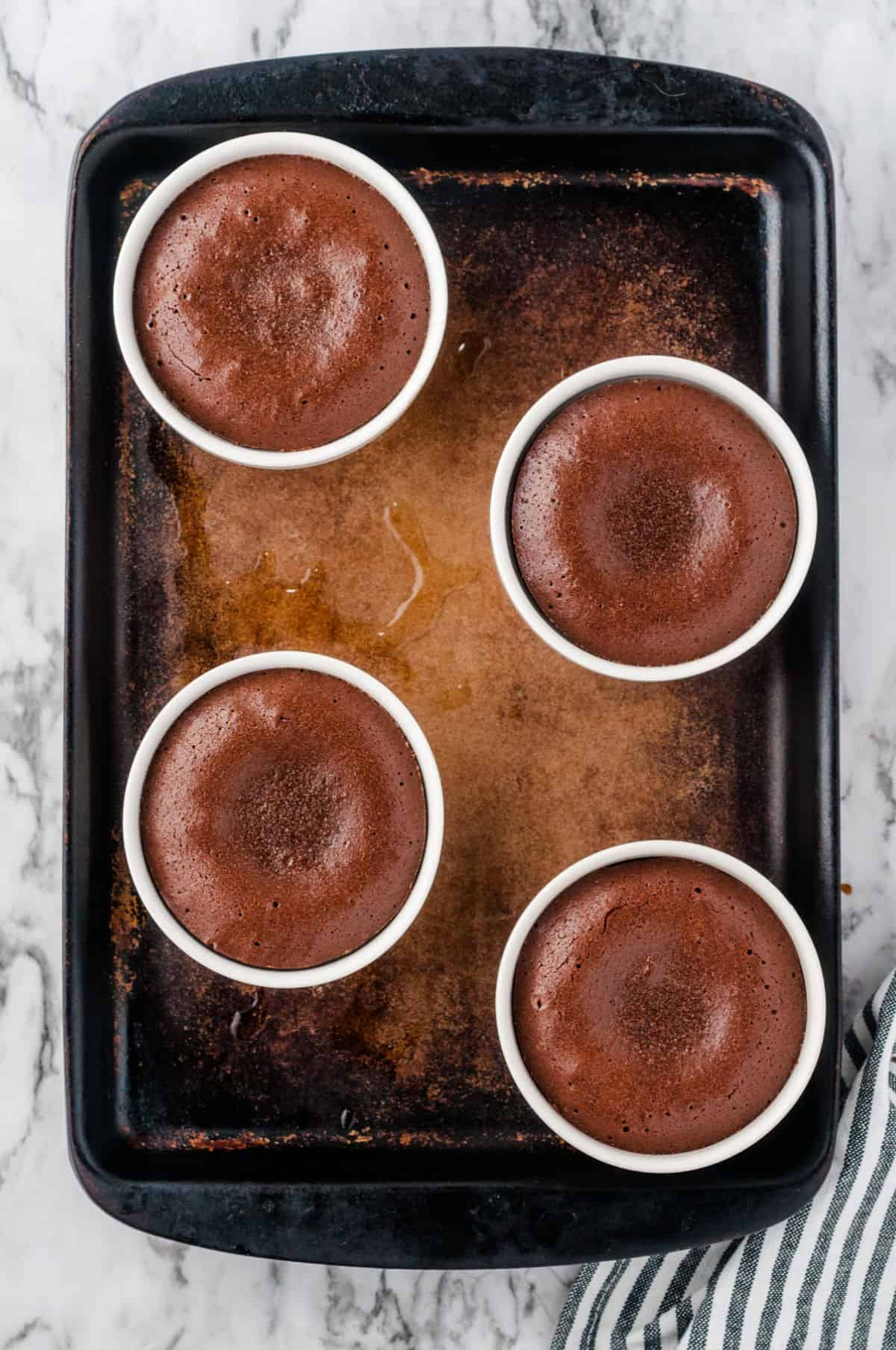Chocolate Melting Cake on a baking pan baked