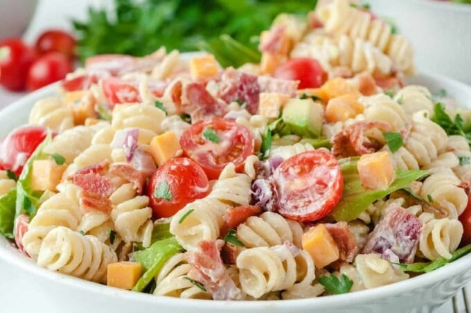 BLT pasta salad close up 2