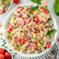 BLT pasta salad in a white bowl