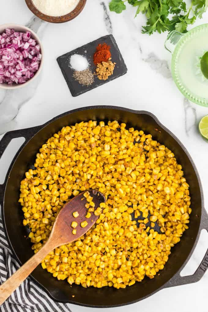 Corn in a cast iron skillet