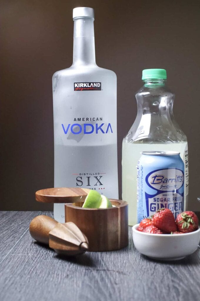 Strawberry Mint Moscow Mule ingredients