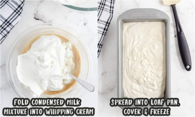 whipped cream folded into mixture and a loaf pan with ice cream in them