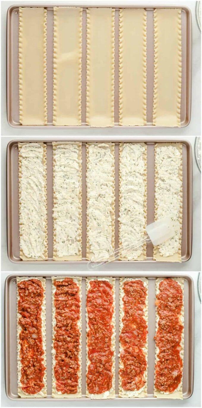three steps to fill lasagna to make roll ups