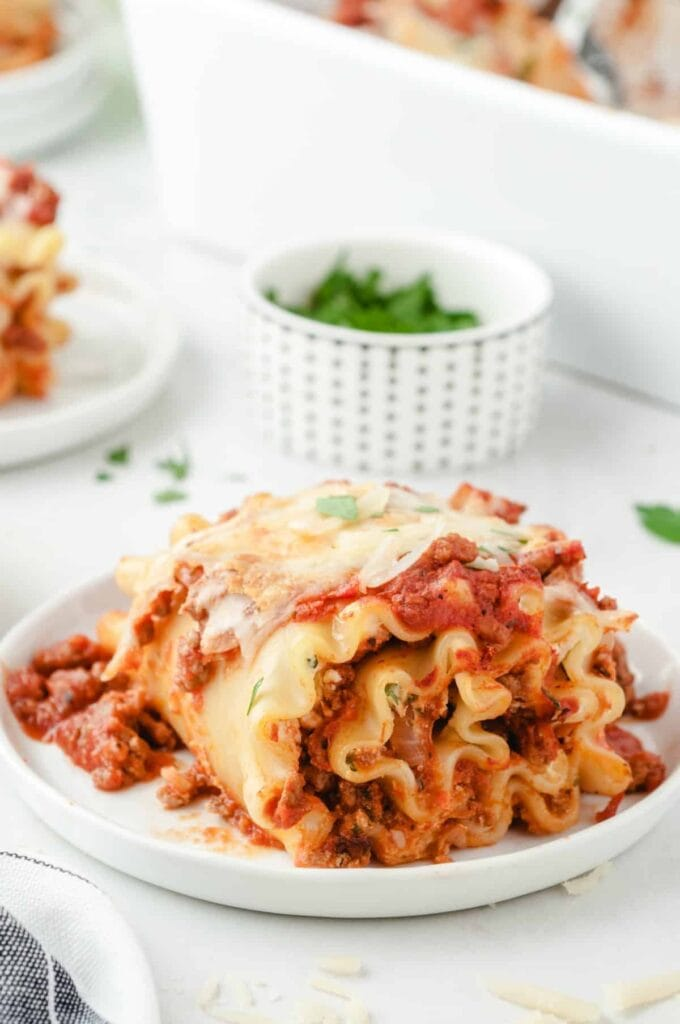 Lasagna Roll-Ups on a white plate