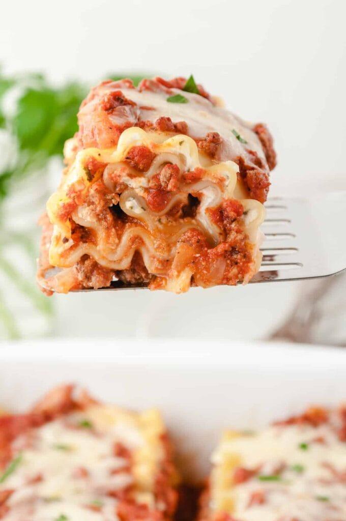Lasagna Roll-Ups on a spatula