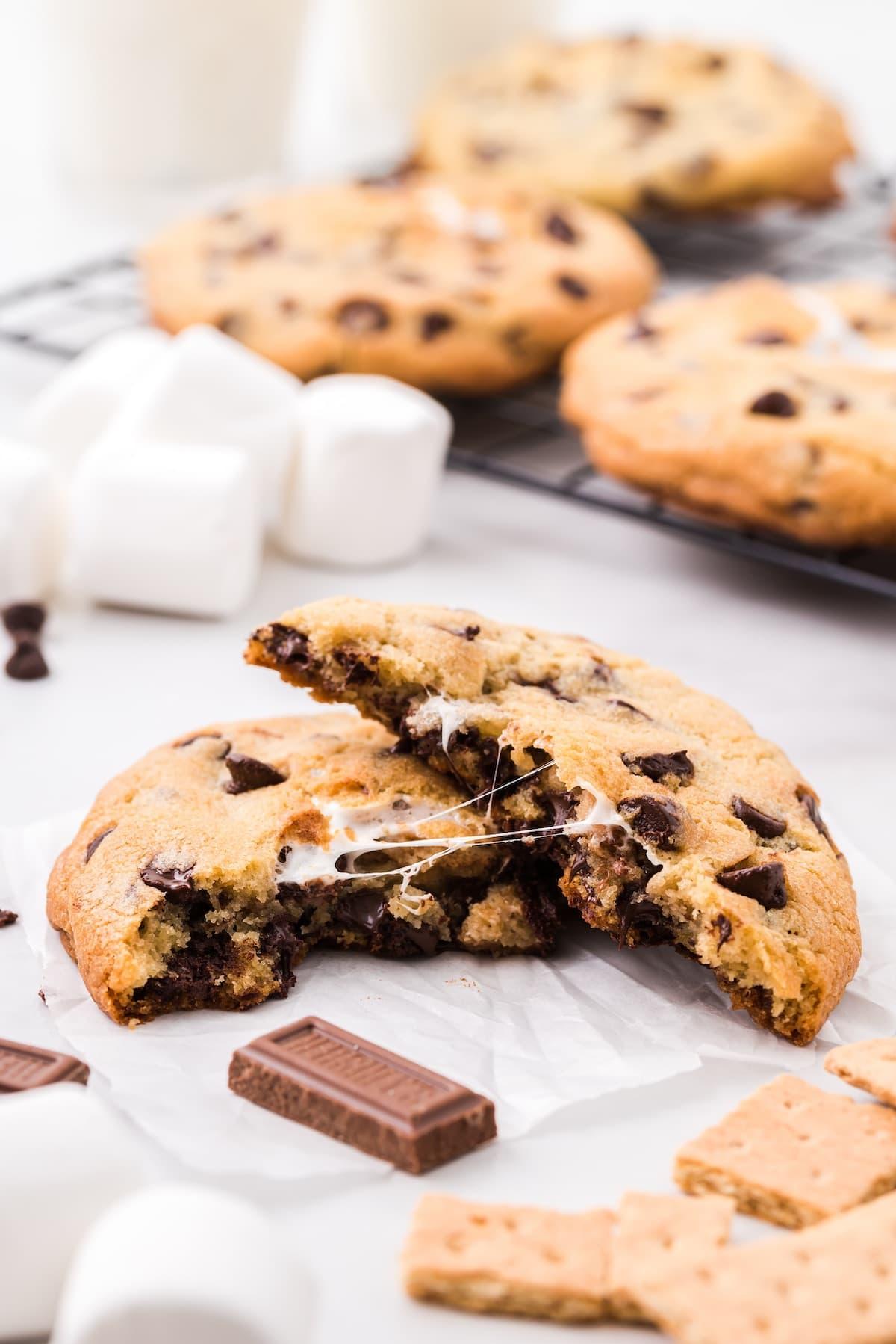 smores stuffed chocolate chip cookies break in half