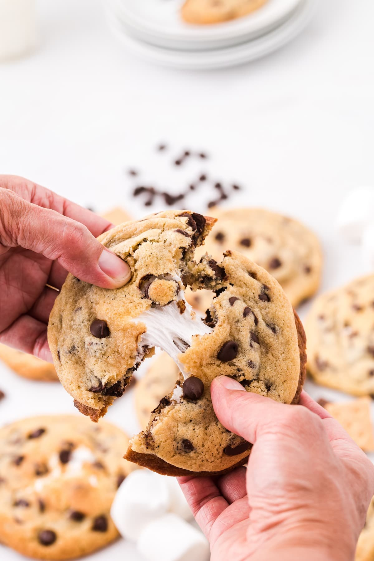 smores stuffed chocolate chip cookies hero image