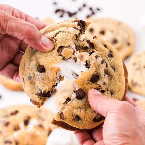 smores stuffed chocolate chip cookies featured image