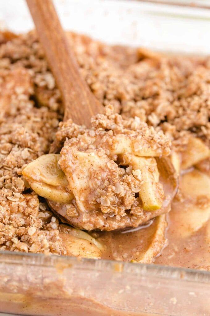 close up of apple crisp