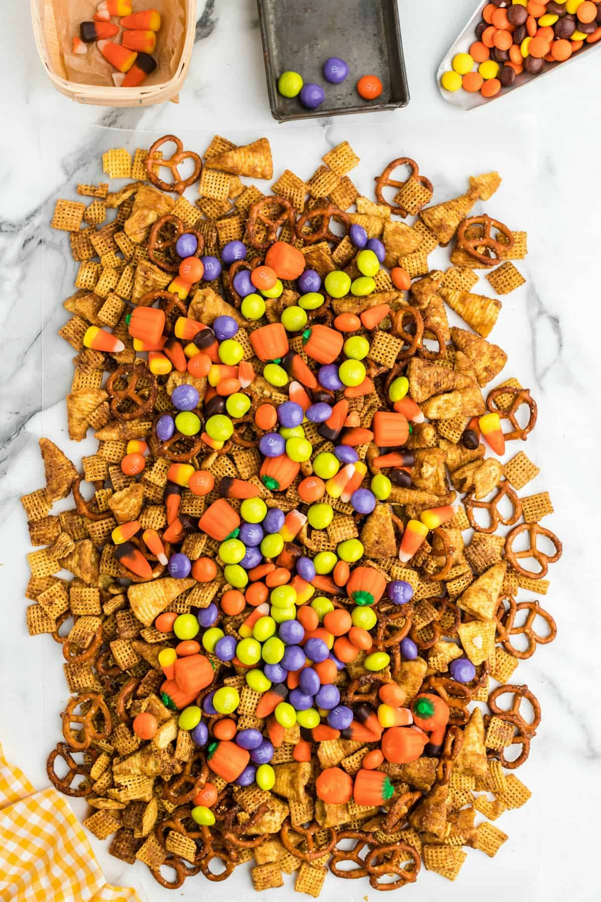 Halloween candy on top of chex mix