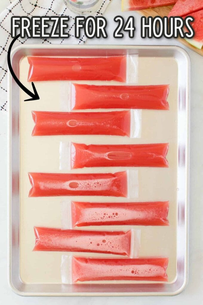 freezey popsicles on a baking sheet