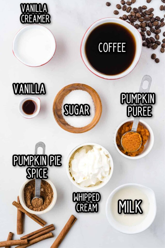 Pumpkin Spice Latte ingredients
