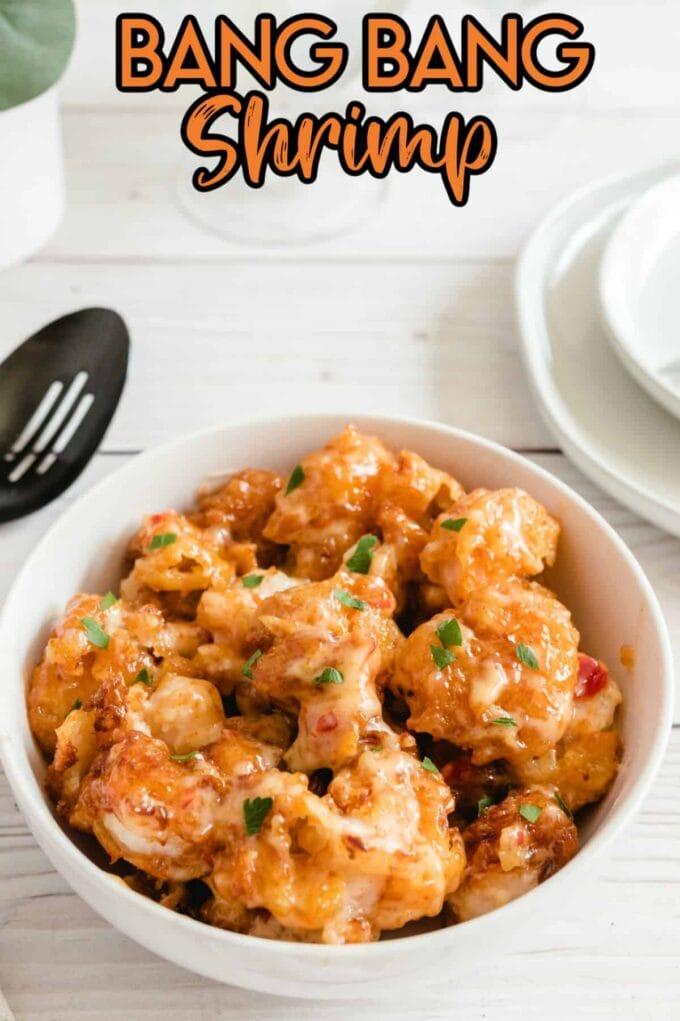 bang bang shrimp in a white bowl