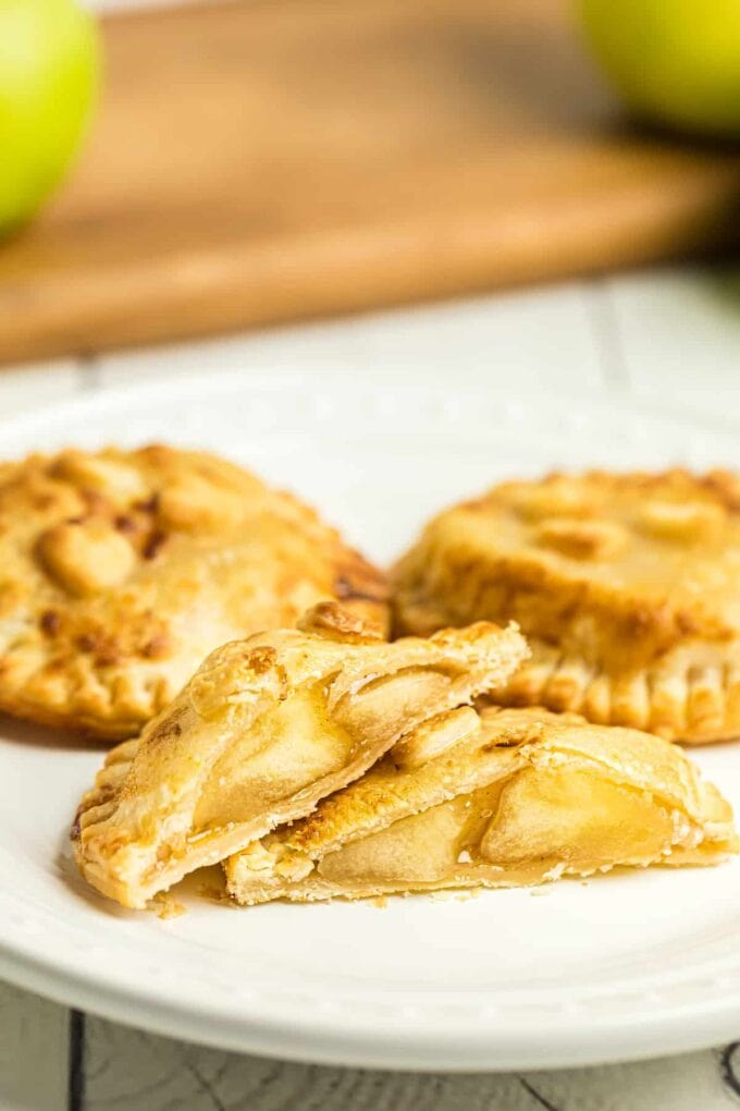 Caramel Apple Hand Pies cut in half