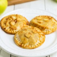 Caramel Apple Hand Pies square featured image on a white plate