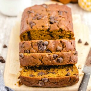 pumpkin bread with chocolate chips on a cutting board