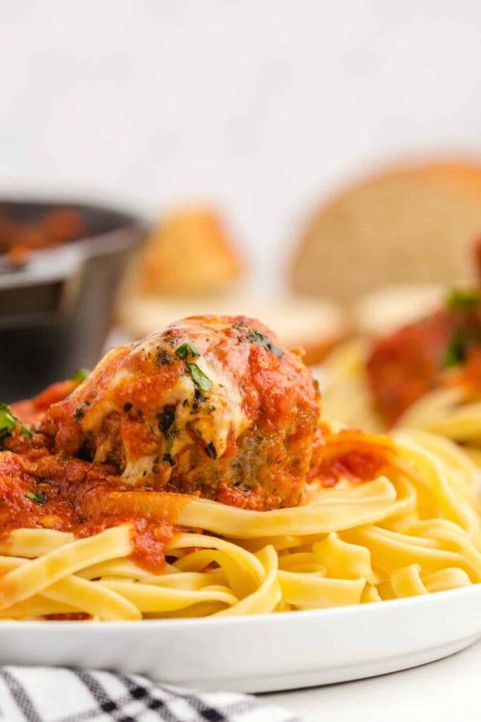 Meatball Parmesan on pasta